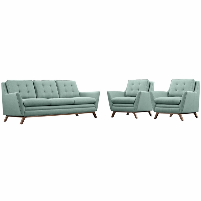 Beguile Contemporary 3pc Button-tufted Fabric Living Room Set, Laguna