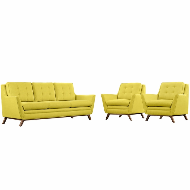 Beguile Contemporary 3pc Button-tufted Fabric Living Room Set, Sunny