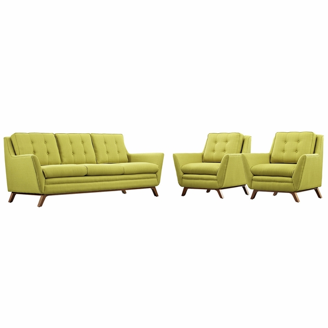 Mid-Century Modern Beguile 3pc Button-Tufted Fabric Living Room Set, Wheatgrass