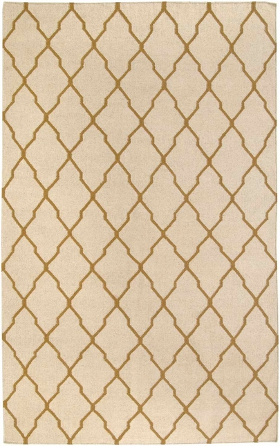 Rizzy Rugs Beige & Gold Lattice Hand Woven Dhurrie Area Rug Swing SG2961