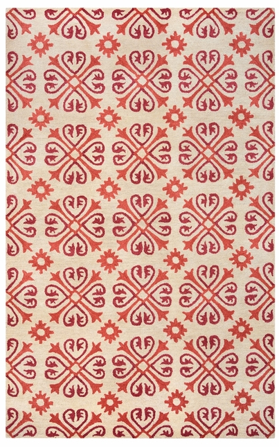 Rizzy Rugs Beige & Red Transitional Hand Tufted Area Rug Opus OP8117