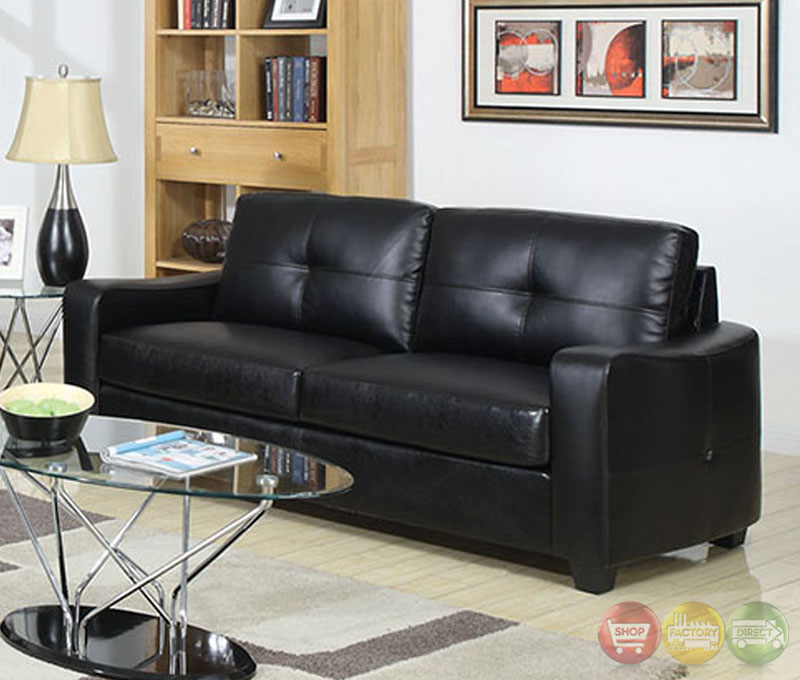 belfast contemporary black living room set with bonded leather match