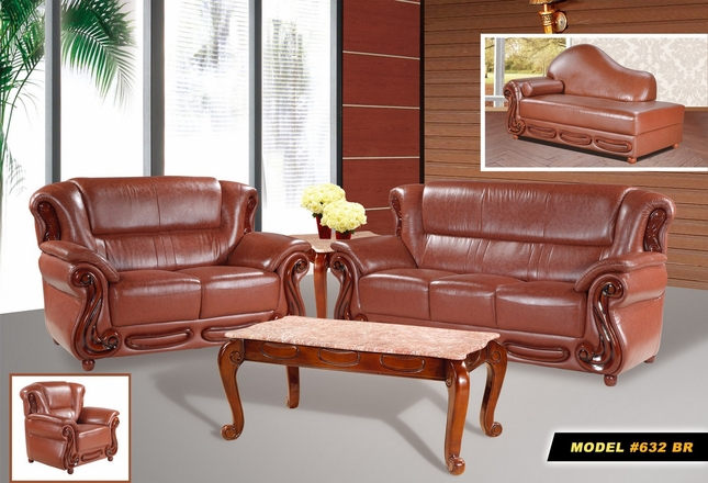 Bella Brown Caramel Italian Leather Sofa & Loveseat Set With Cherry Accents