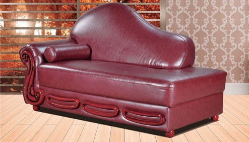 Bella Burgundy Traditional Leather Chaise With Wood Accents