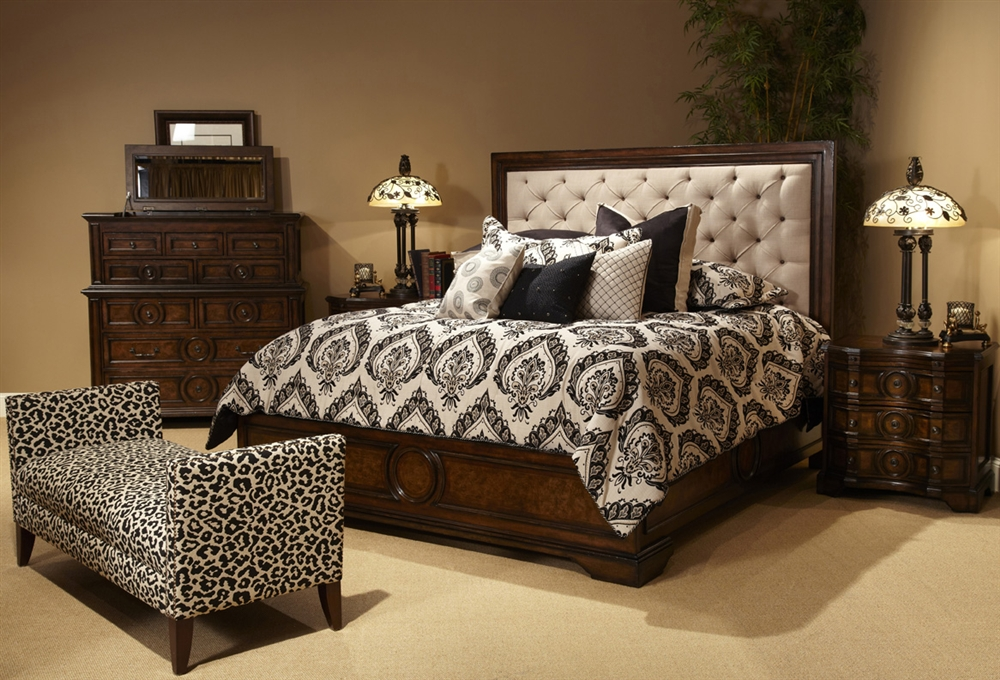 bella cera king size 5 piece bedroom set w fabric tufted headboard 2