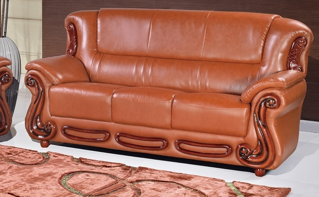 Bella Cognac Leather Italian Sofa With Wood Accents