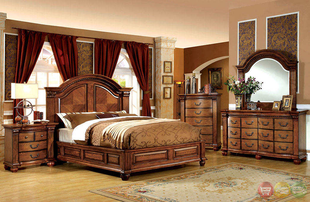 Antique Tobacco Oak Bedroom Set With French Dovetail Drawers CM7738