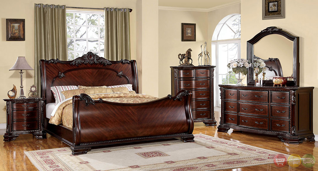 Baroque Brown Cherry Sleigh Bedroom Set With Intricate Accents CM7277
