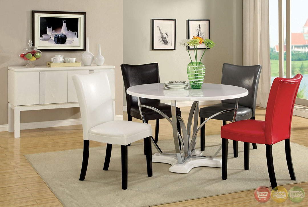 Belliz Contemporary White Lacquer Table Casual Dining Set