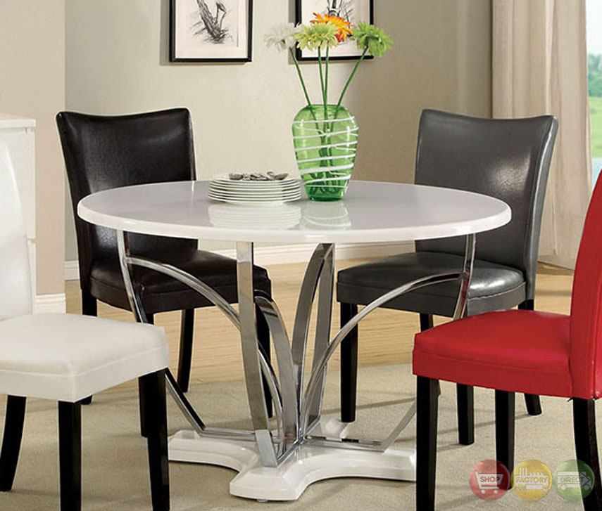 Belliz Contemporary White Lacquer Table Casual Dining Set With Leatherette Pa