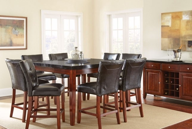 bello 54 black granite top counter height dining table in cherry