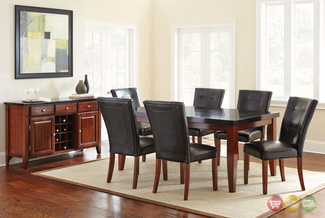bello transitional black granite top dining table with cherry finish
