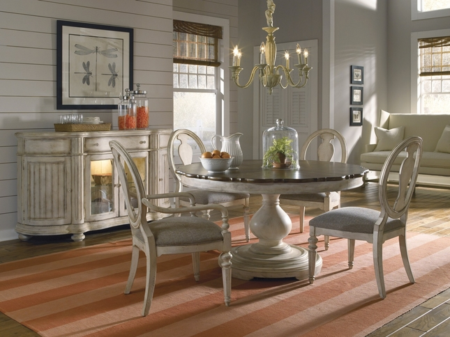 Belmar Luxury Coastal Whitewash Finish Round / Oval Dining Table & Chairs Set