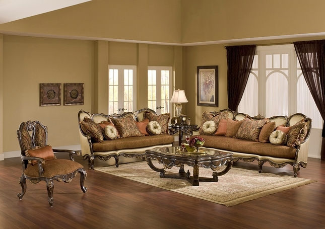 Abrianna Exposed Wood Warm Cherry Finish Antique Style Sofa Set
