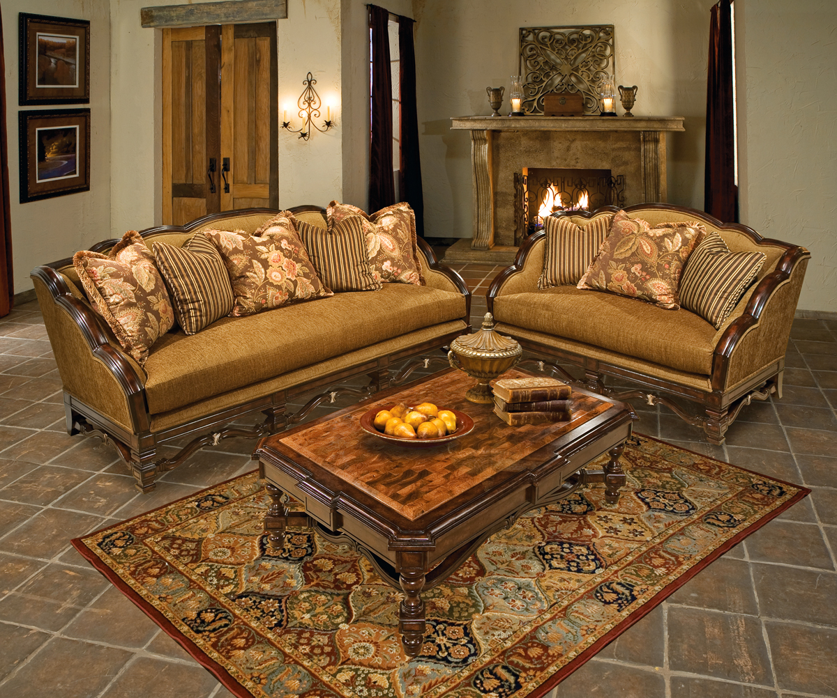 Alyssa Warm Cherry Metallic Gold Upholstery Luxury Sofa