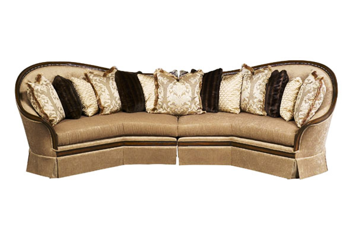 Wood Frame Sofa : Luna Exposed Solid Wood Frame Sectional Sofa with Pillows