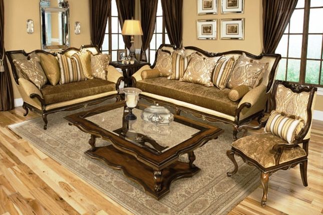 Marquese Antique Style Upholstered Formal Sofa Seating Set