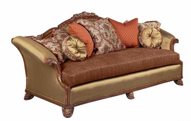 Norina Antique Style Gold & Brown Luxury Fabric Sofa Set