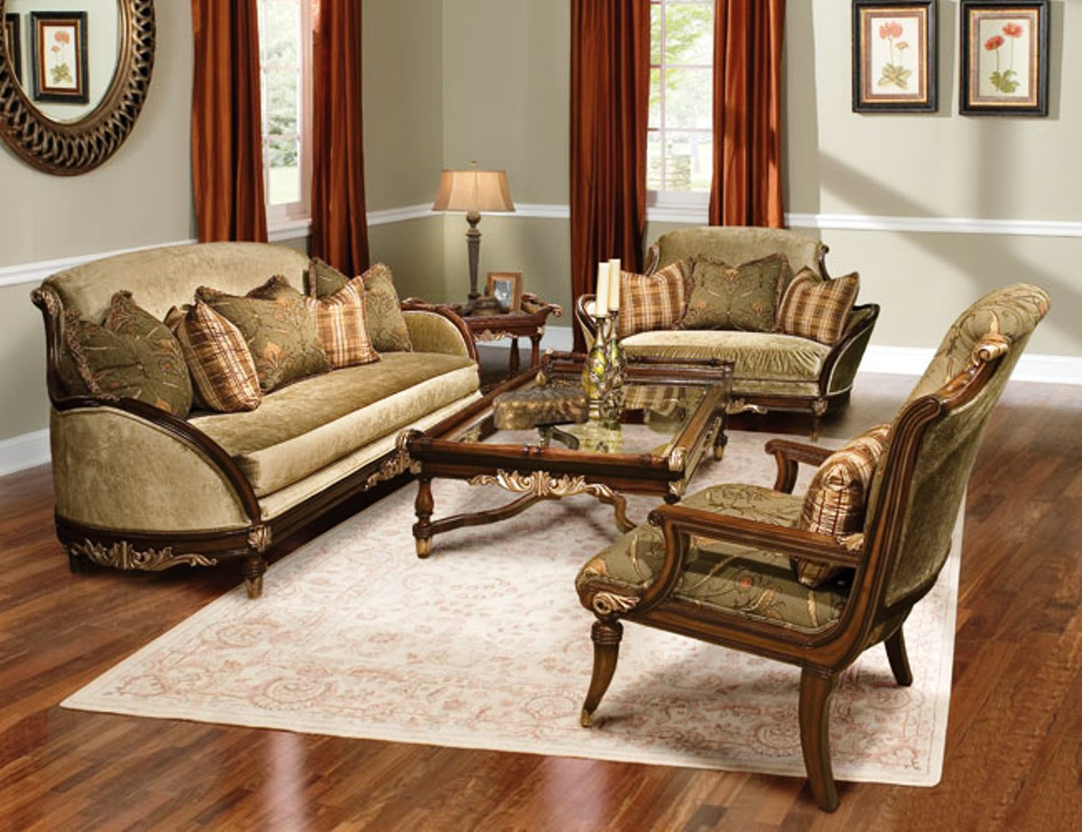 1200x923 Rosetta Traditional Style Solid Wood Sofa Furniture Set Image  #A64B25 Top Of The Line