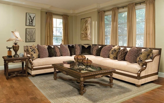 Saveria Exposed Wood Trim Sectional Sofa with Accent Pillows