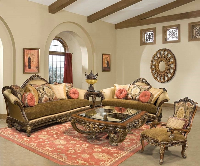 Sicily Ornate Hand Carved Solid Wood Antique Style Sofa Set