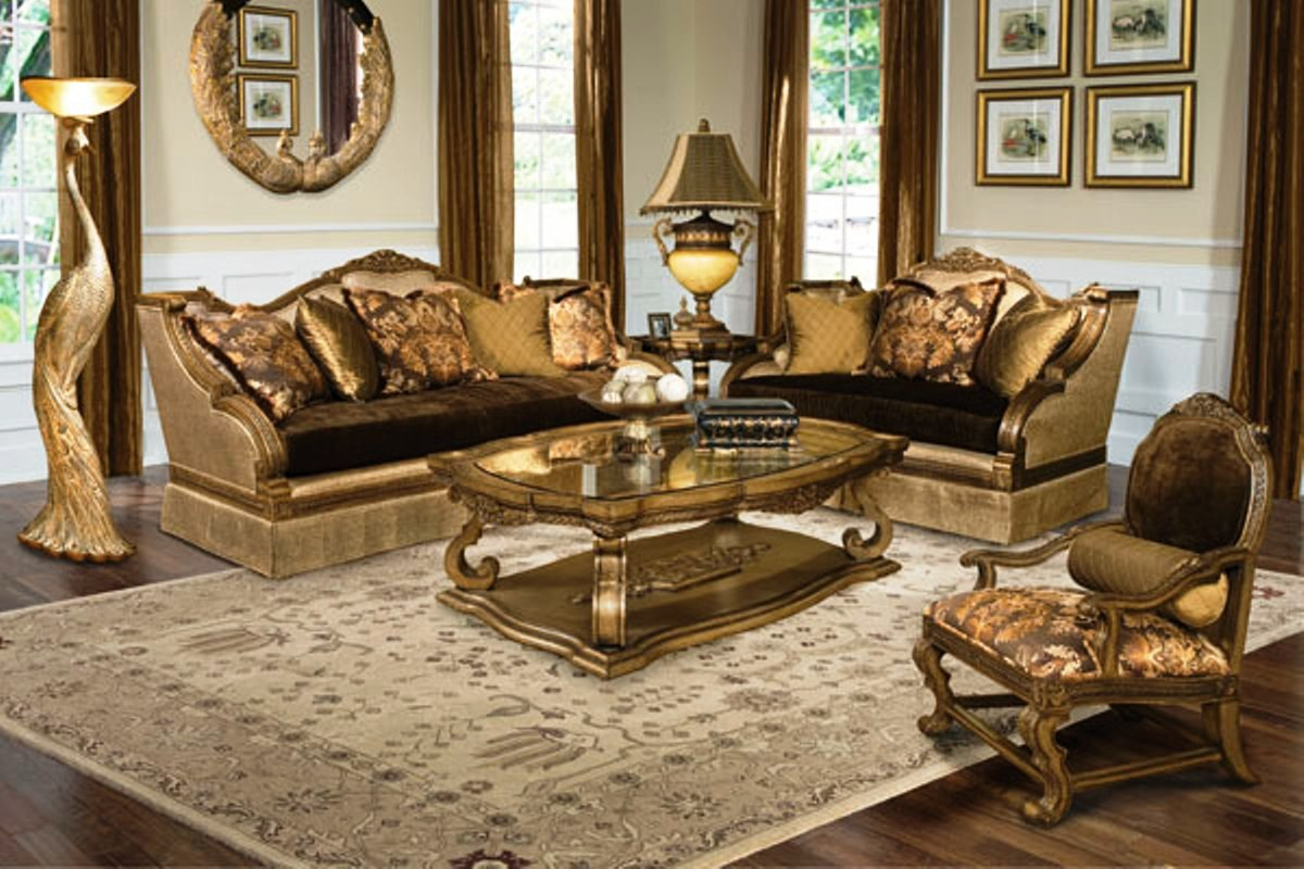 Living Room Furniture: Violetta Luxury Exposed Wood Frame Living Room Furniture Set