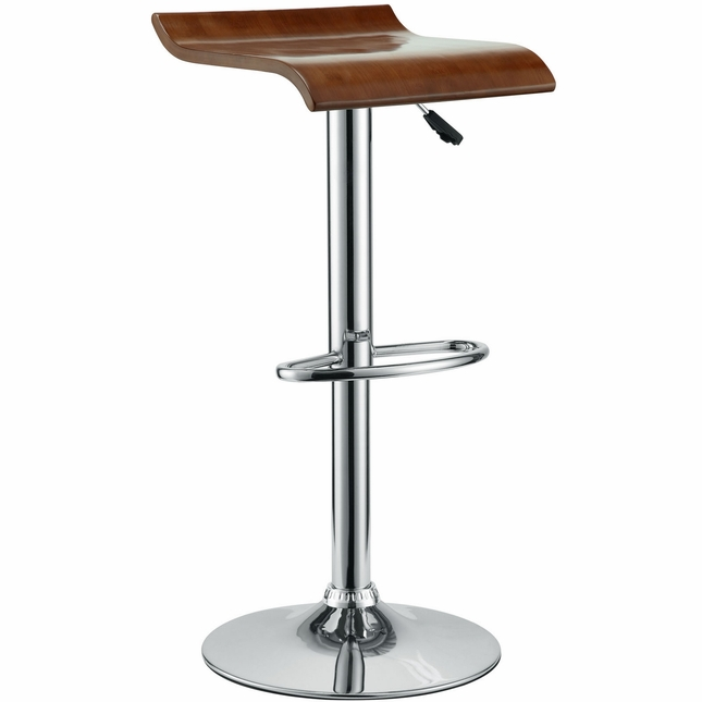 Bentwood Modern Wooden Seat Bar Stool w/ Chrome Base & Foot Rest, Oak