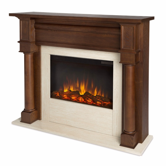 Berkeley Electric LED Heater Fireplace In Chestnut Oak, 4700BTU, 47x40