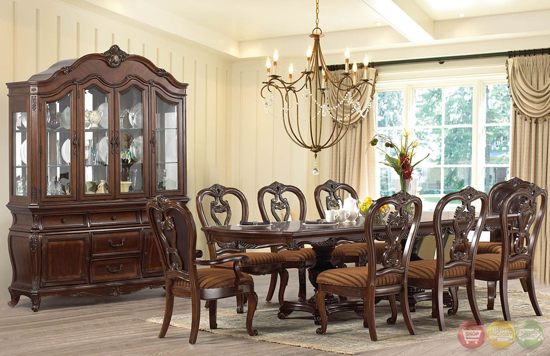 Beth Traditional Dark Wood Formal Dining Set With Buffet
