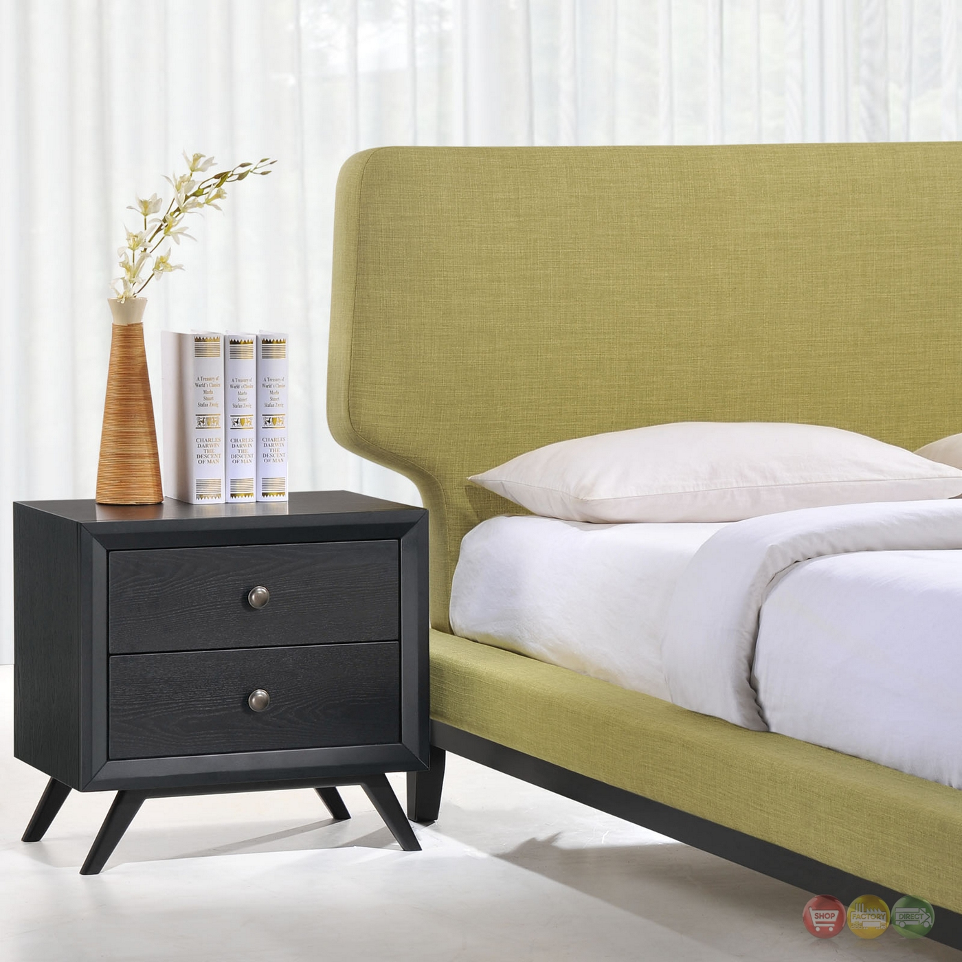 Bethany Modern Upholstered 2-pc Queen Bedroom Set, Black Green