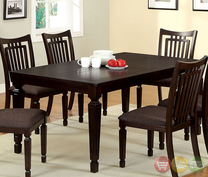 Bethel Transitional Espresso Casual Dining Set with Padded Fabric Seat ...