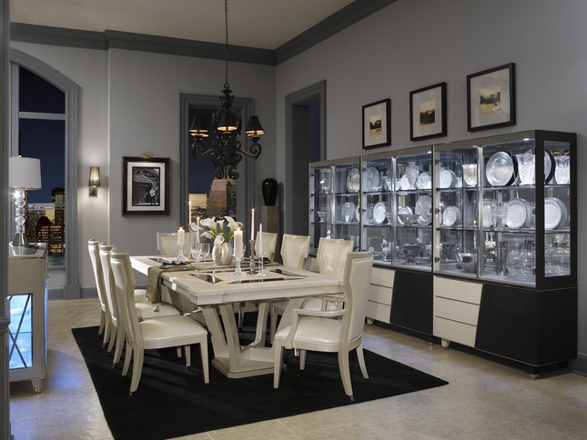 Michael Amini Beverly BLVD Pearl Caviar Formal Dining Room Set by AICO