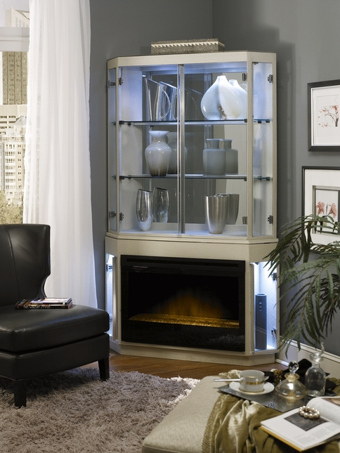 Michael Amini Beverly BLVD Fireplace Curio Top & Optional Electric Heater Insert