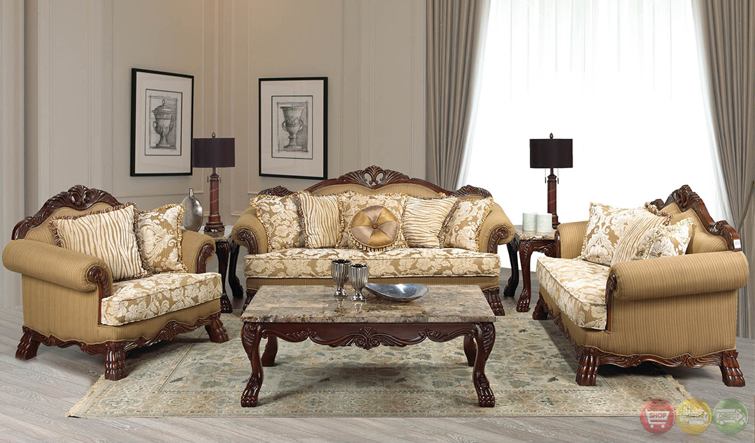 Beverly Traditional Dark Wood Formal Living Room Sets With