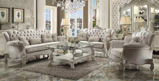 Versailles Traditional Ivory Velvet Formal Sofa and Loveseat Set with Carved Wood