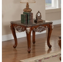 Biarritz Marble Coffee Table In Cherry With Silver Accents