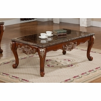 Biarritz Marble End Table In Cherry With Silver Accents
