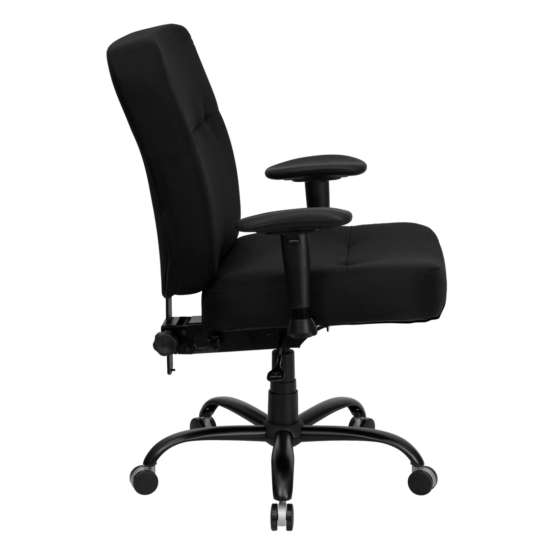 Big And Tall Black Fabric Office Chair With Arms And Extra WIDE Seat WL 735SY