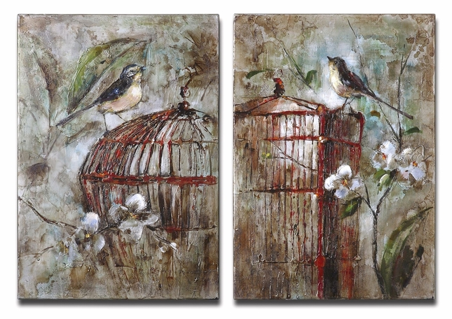 Birds In A Cage Set of 2 Canvas Art 34226
