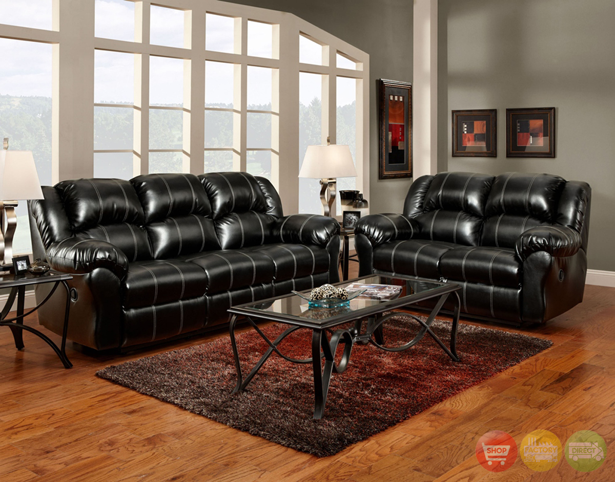 black bonded leather casual motion sofa set living room furniture