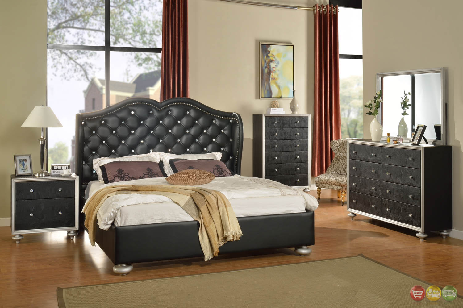 Black Button Tufted Wing Back Bed Faux Croc Bedroom