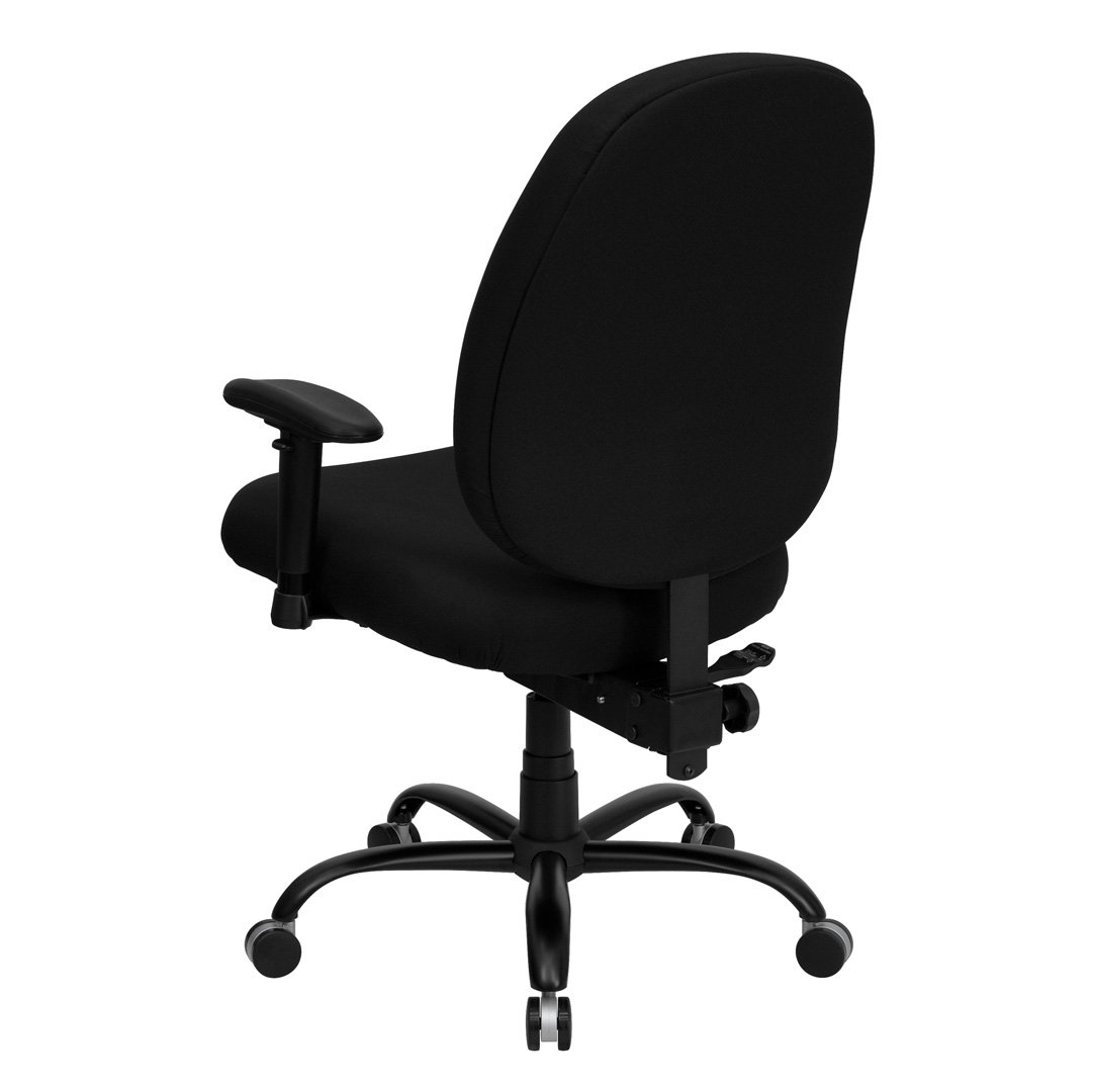 Black Fabric Large Office Chair with Arms and Extra wide ...