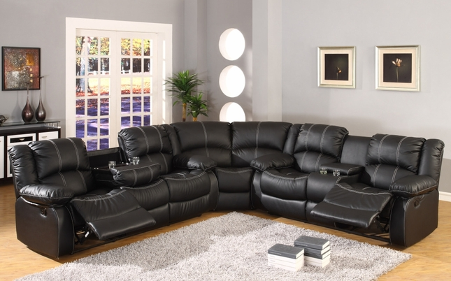 Black Faux Leather Reclining Motion Sectional Sofa w/ Storage Console