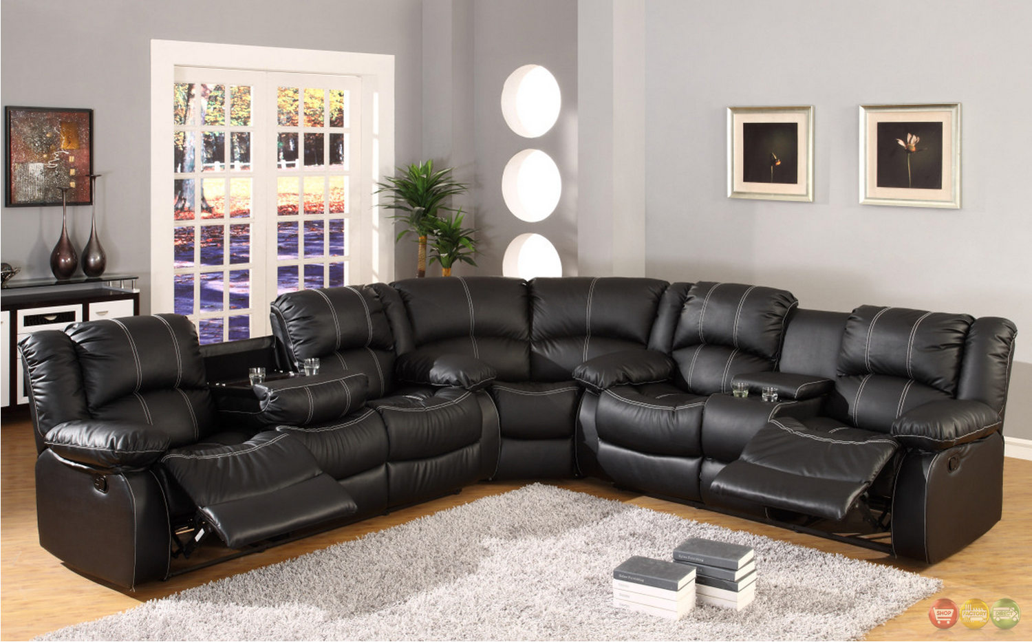 Black Faux Leather Reclining Motion Sectional Sofa W