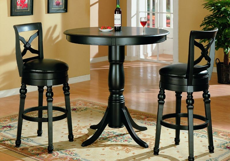 Black Finish Pub Table and Two Swivel Bar Stools Set : black finish pub table and two swivel bar stools set 22 from shopfactorydirect.com size 800 x 560 jpeg 121kB