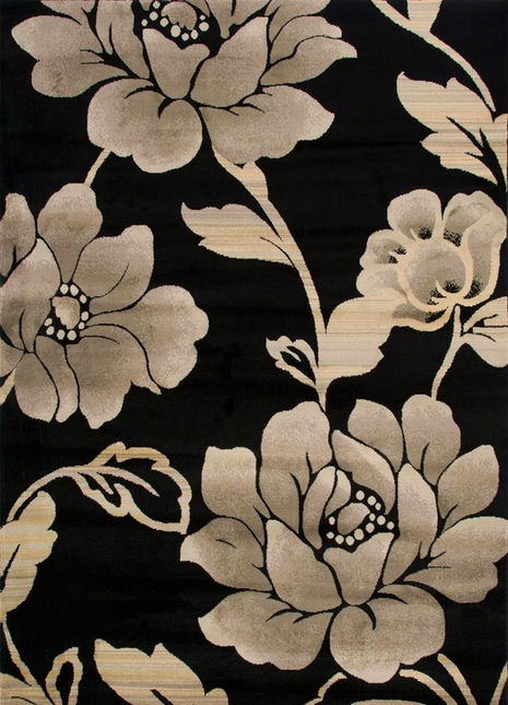 Rizzy Rugs Black Floral Power Loomed Area Rug Bayside BS3588