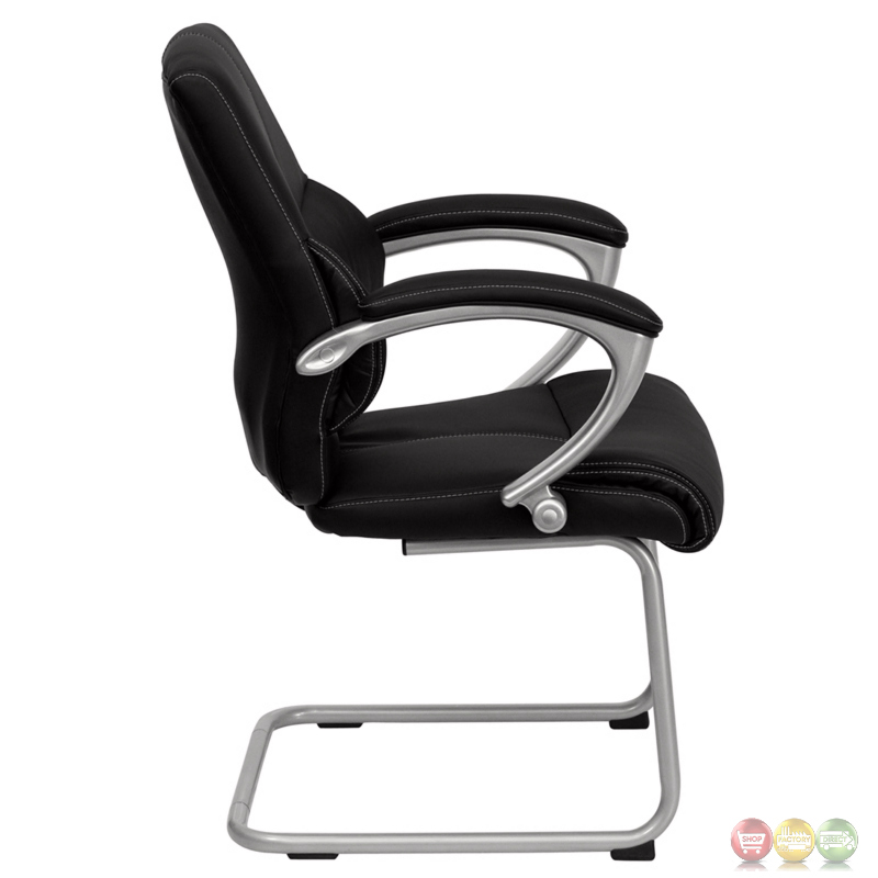 Black Leather And Chrome Executive Guest Side Chair