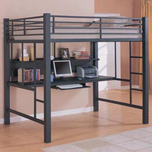 Black Metal Full Size Workstation Desk Loft Bunk Bed Coaster