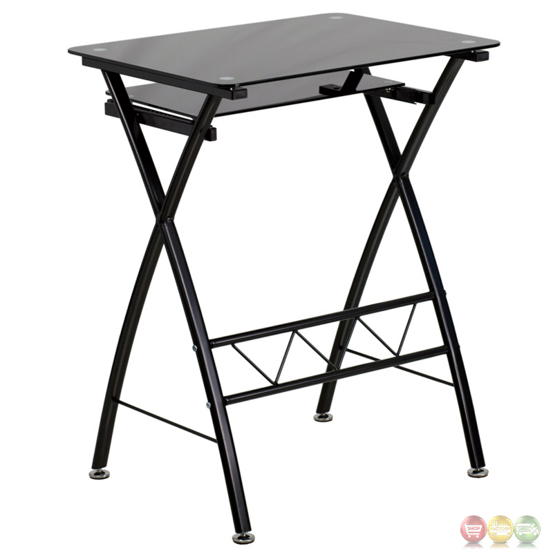 Black Tempered Glass Computer Desk With Pull Out Keyboard