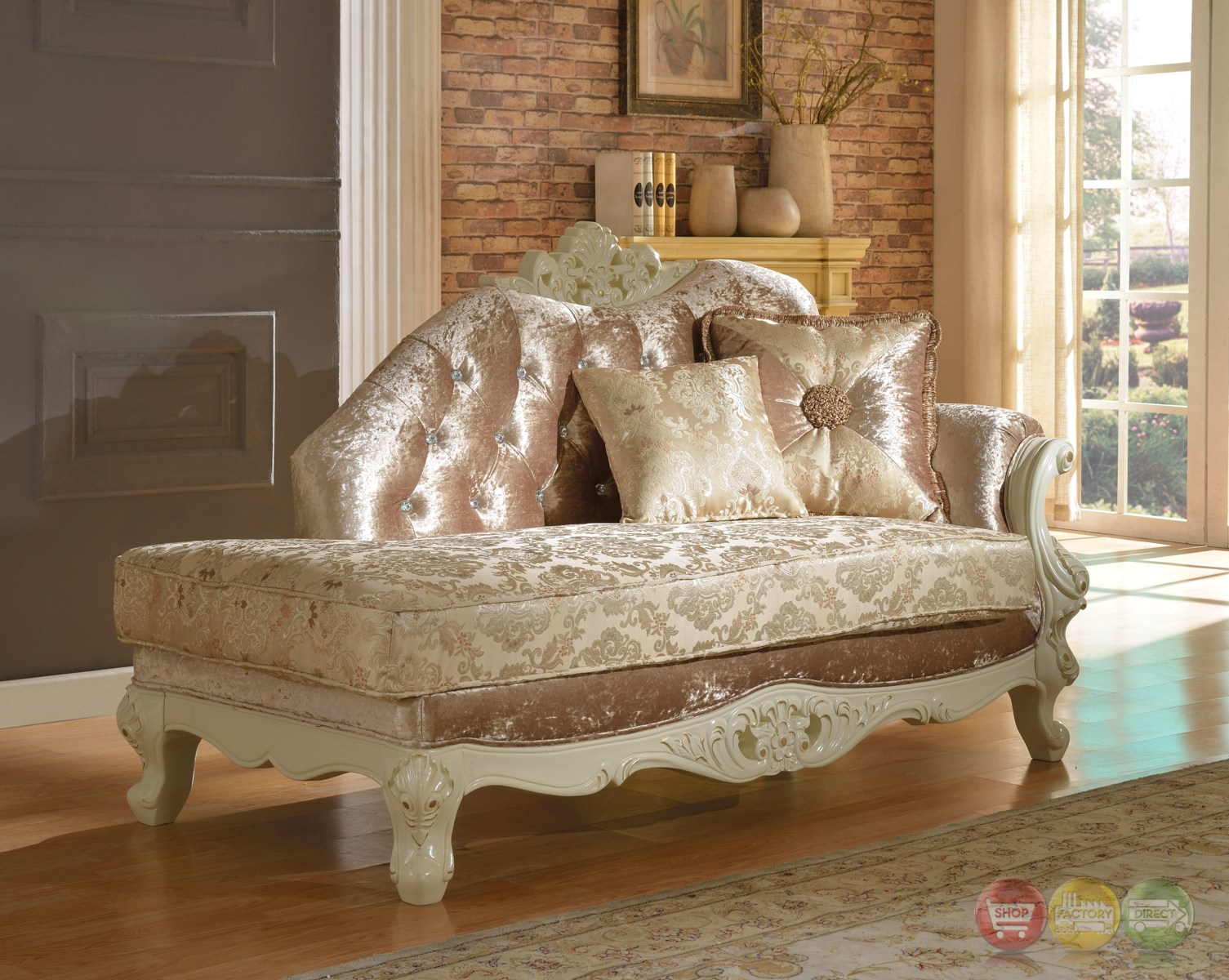 Blake Pearl White Traditional Chaise Lounge With Crystal